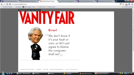 vanity fair alternative error message