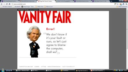 vanity fair alternative error message