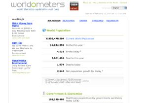 Image of Worldometer website